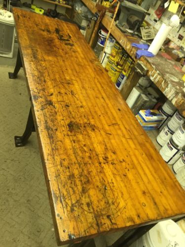 Vintage Industrial Large Workbench Table Island Butcher Block Top