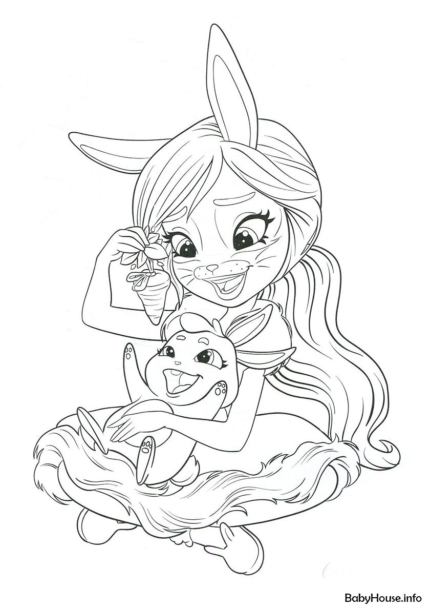 Bree Bunny And Twist High Quality Free Coloring From The Category Enchantimals More Printable Cute Coloring Pages Deer Coloring Pages Ladybug Coloring Page
