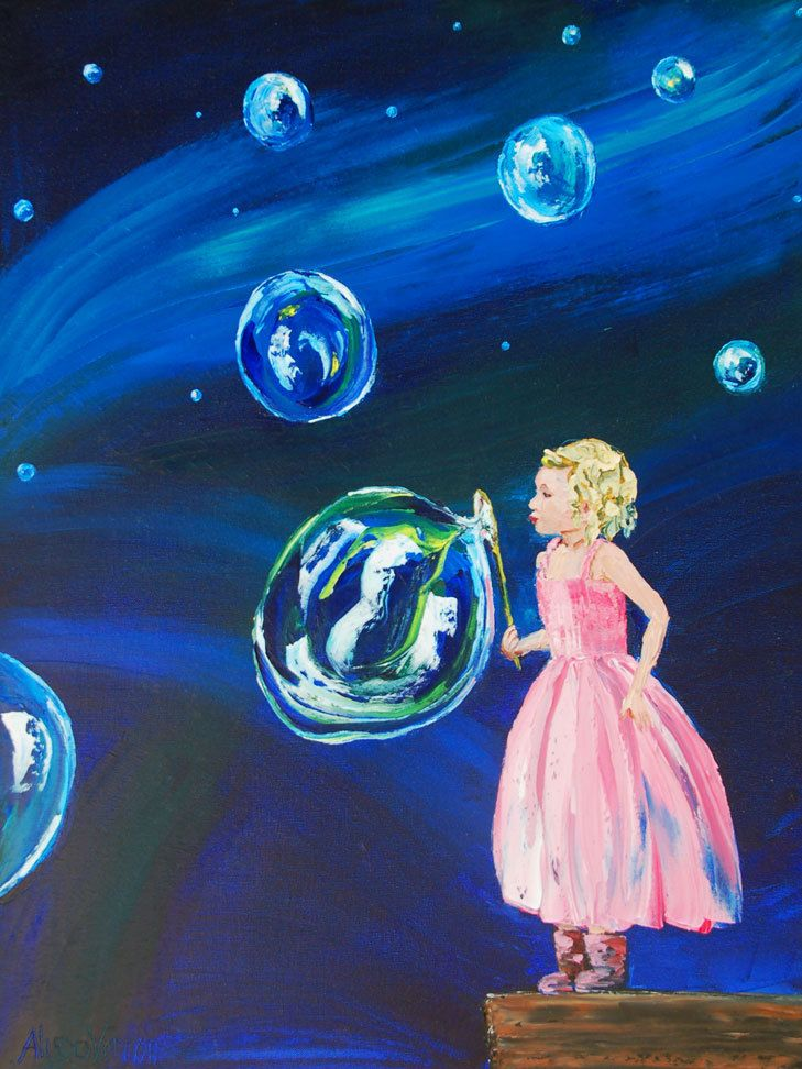 "Blowing Bubbles into the Universe 16x12x1/4"" Giclee or print on board NO FRAME NEEDED by Alison Vernon. $30.00, via Etsy."