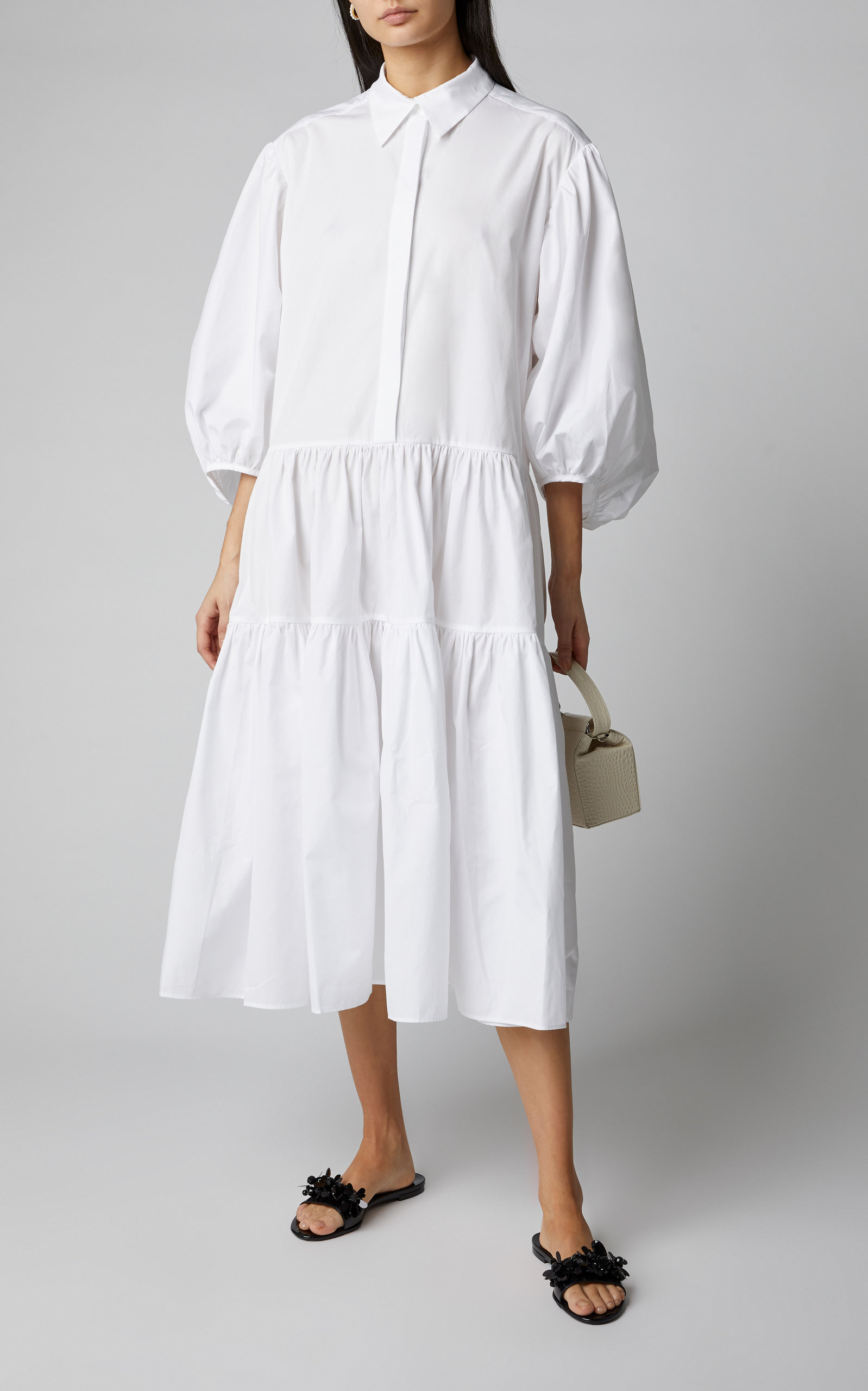 Cecilie Bahnsen Amy Oversized Tiered Cotton Poplin Midi Dress Fashion Fall Fashion Coats Effortlessly Chic Outfits [ 2560 x 1598 Pixel ]