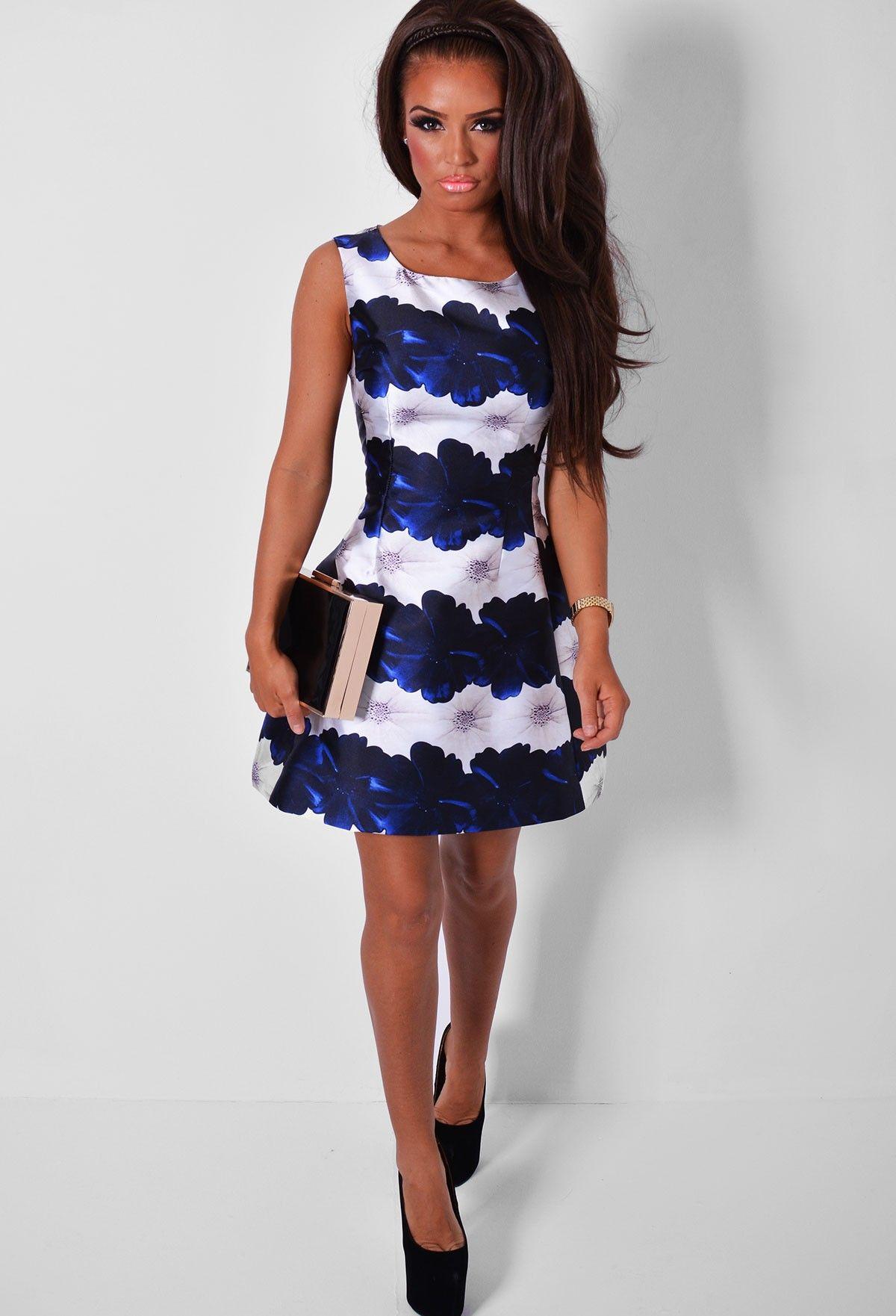 Orleans Navy & White Floral Print Skater Dress | Pink Boutique ...