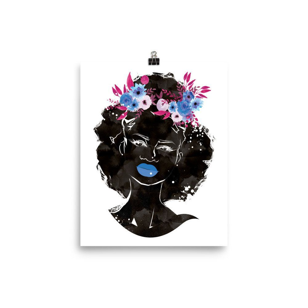 Blue Floral Crown Afro Unframed Photo Paper Poster