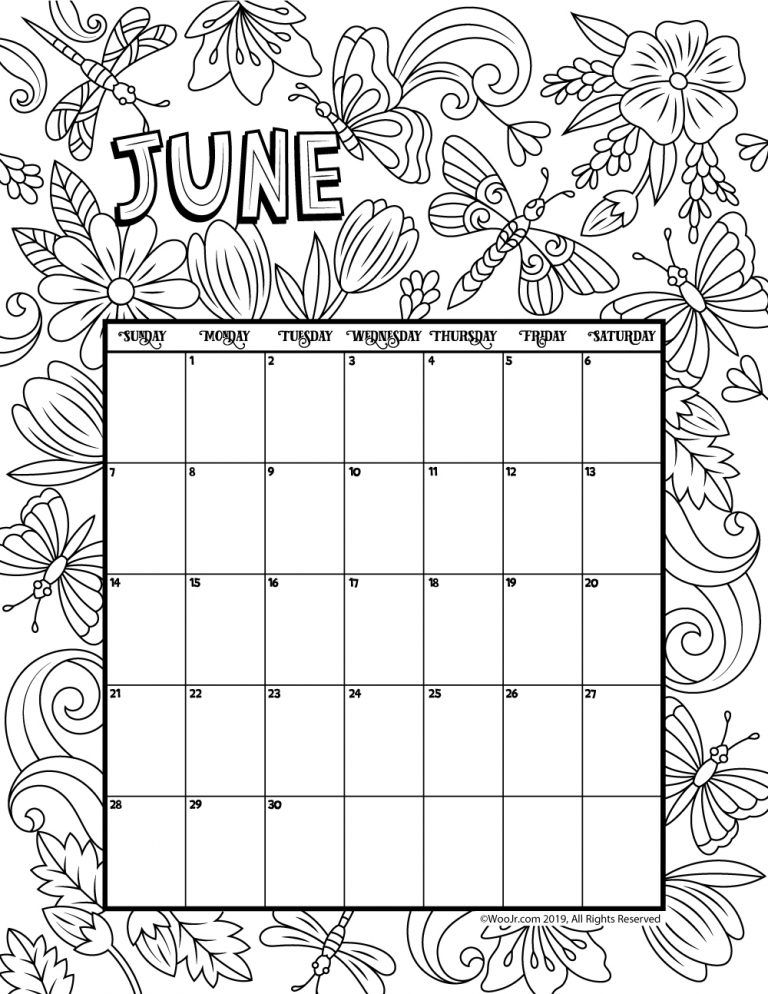 June 2020 Coloring Calendar Woo Jr Kids Activities Coloring Calendar Calendar Printables Printable Coloring Pages