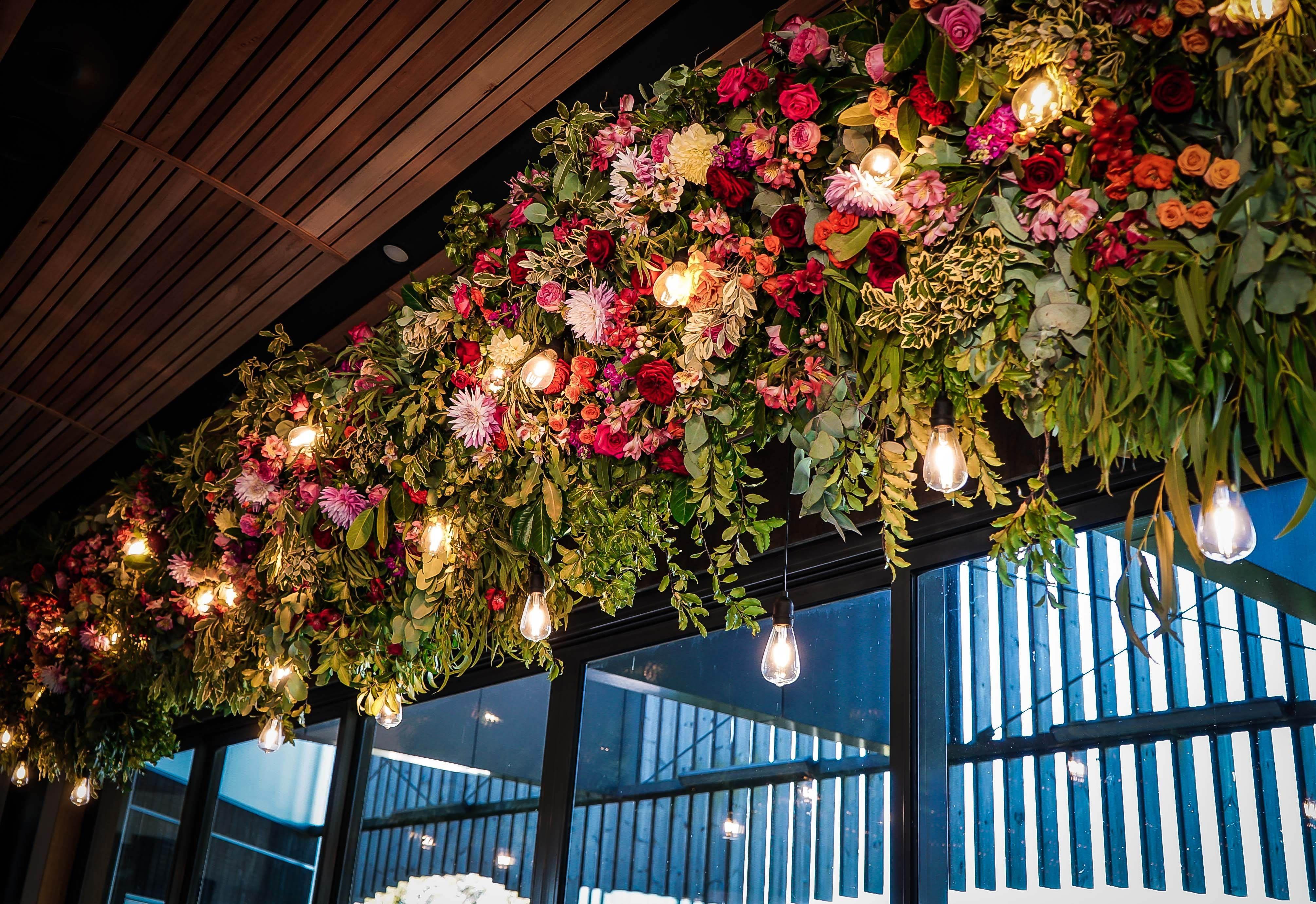 Joseph Chromy Winery Wedding Hanging Flower Installation