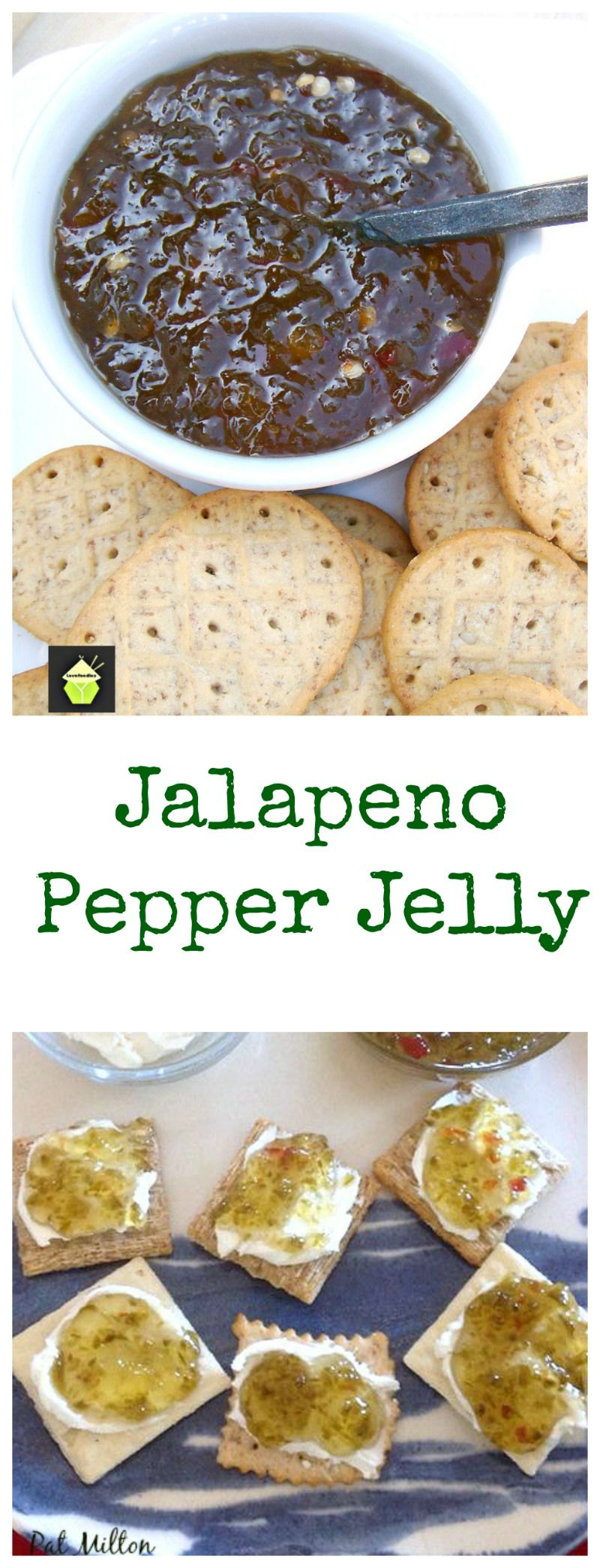 Nanny's Easy Jalapeno Pepper Jelly Great recipe and delicious served on crackers with cream cheese! #jalapeno #jelly #canning