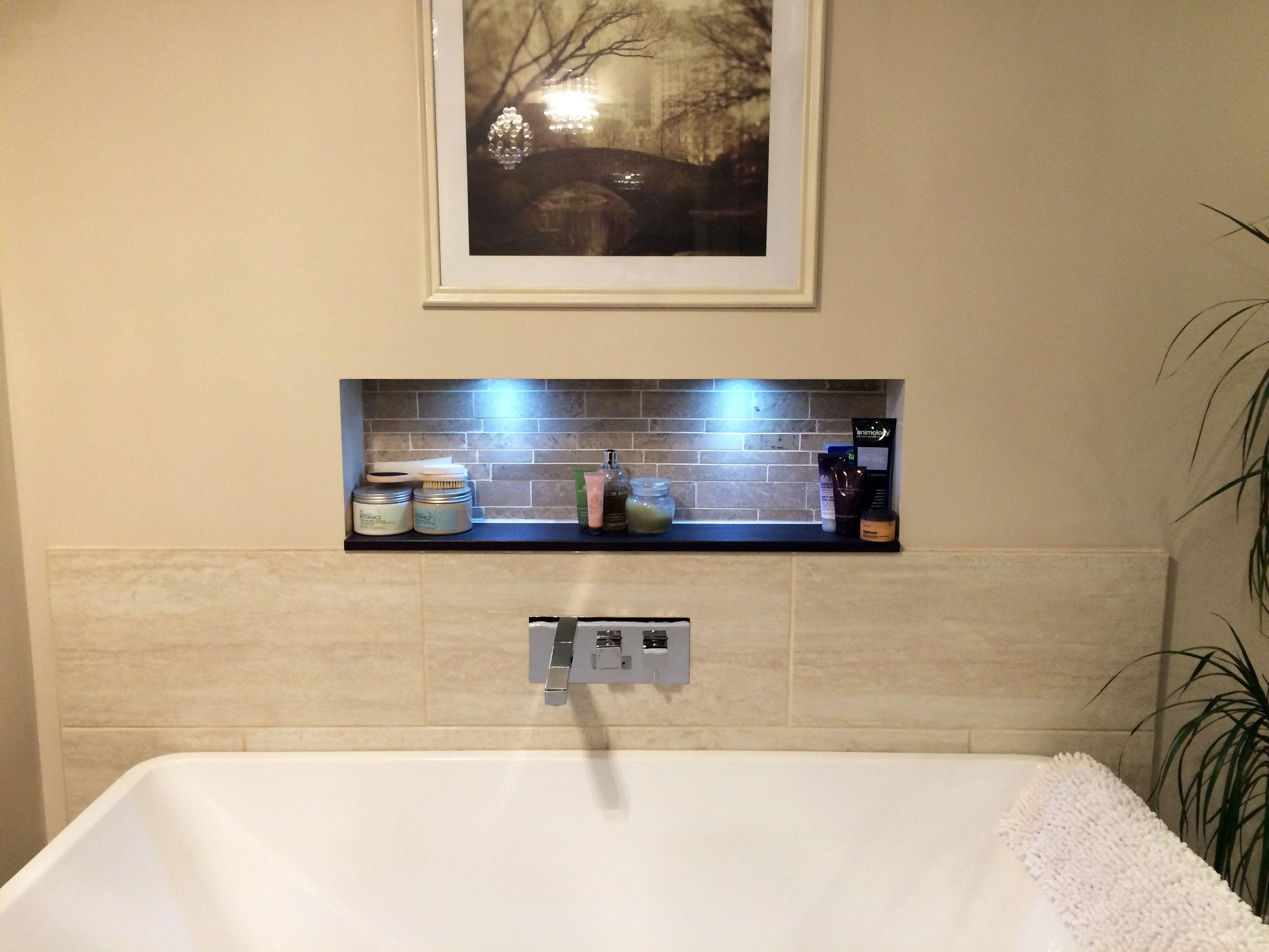 1946 yellow and grey tile bathroom - Deep Luxury Freestanding Bath Large Format Tiles Waterfall Tap Recessed Bathroom Shelf With