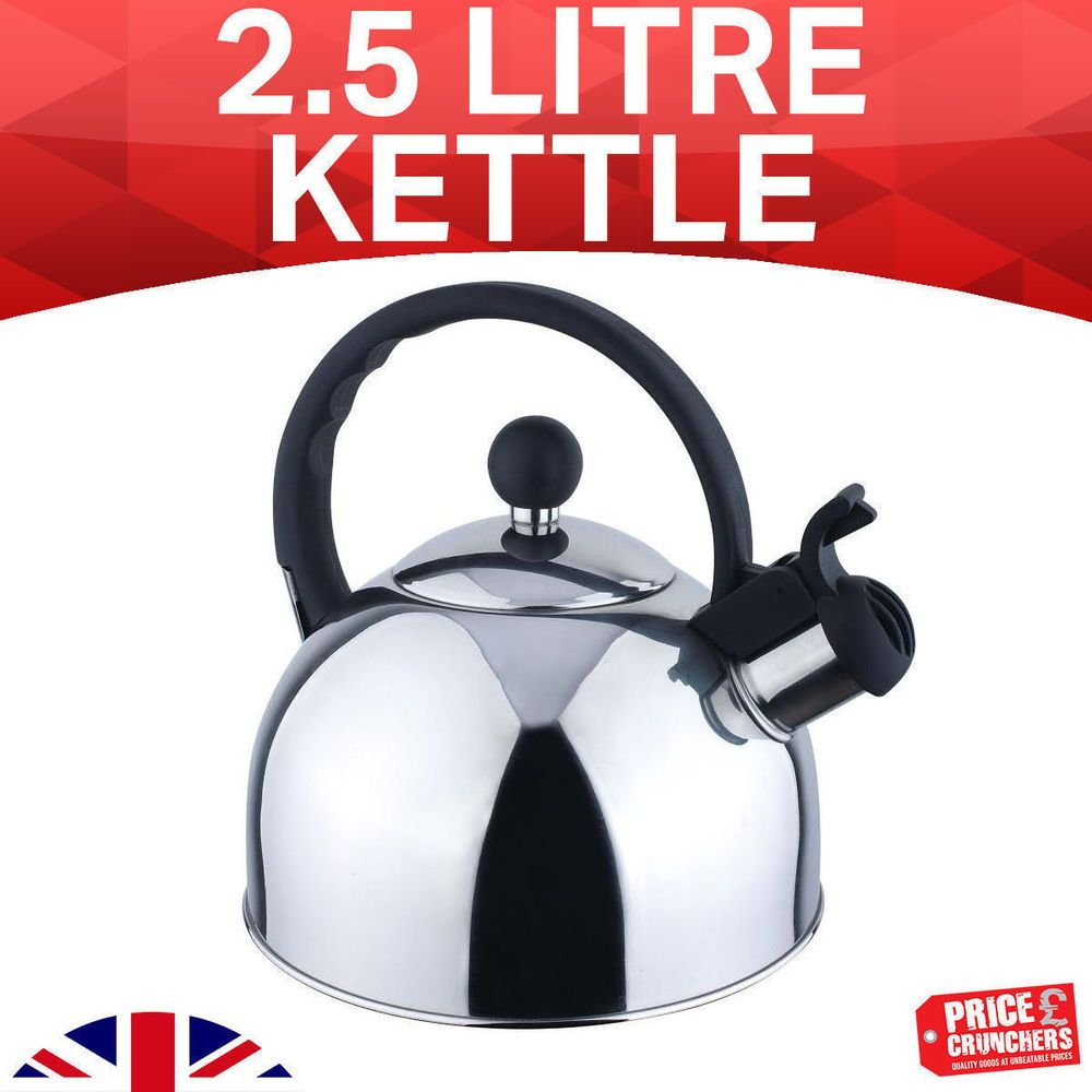 Blue Stainless Steel Whistling Kettle 2.5L Stove Top Hob Kitchenware Tea Camping