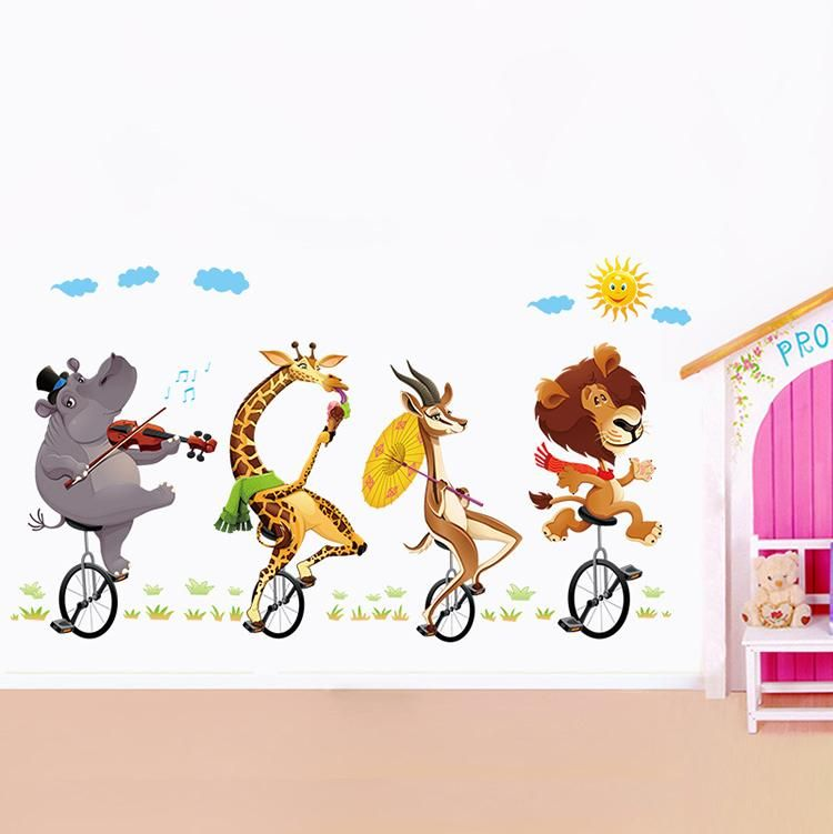 Wandtattoo Wandaufkleber Kinderzimmer Tiere Lowe Nashorn Giraffe Reh
