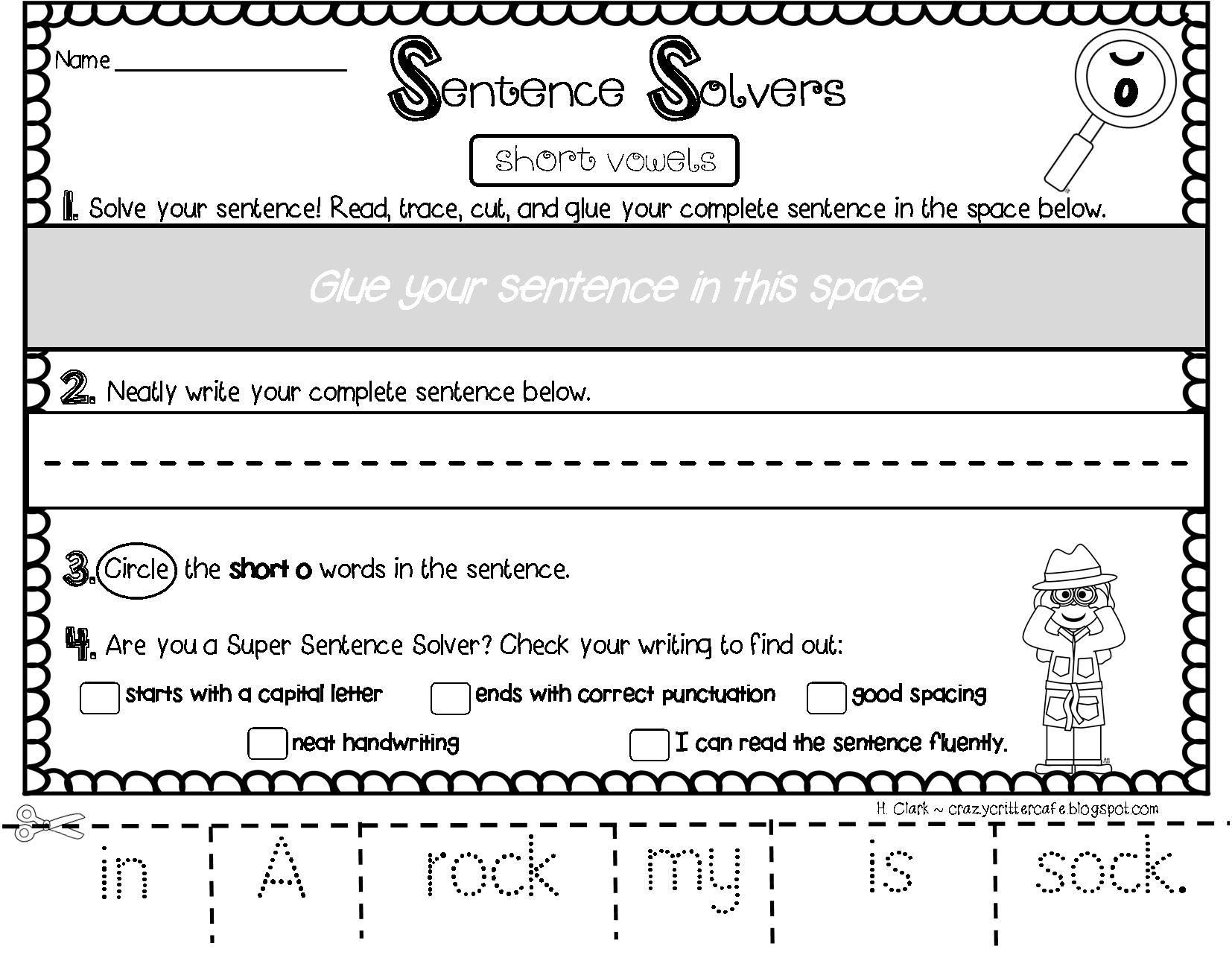 Writing Sentences Short Vowels Interactive Sentence