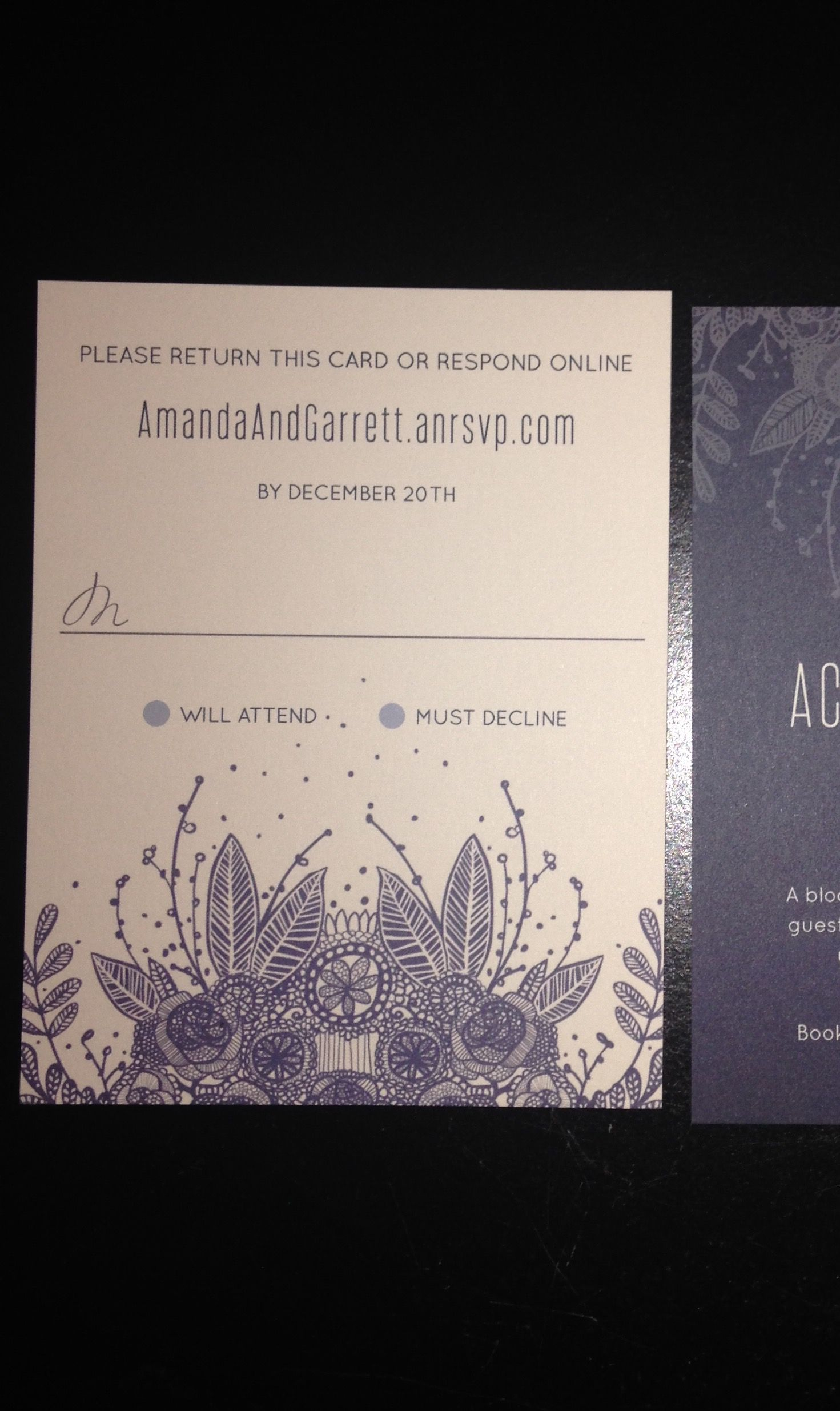 RSVP Cards for Buffet Dinner (no Entree choice (With