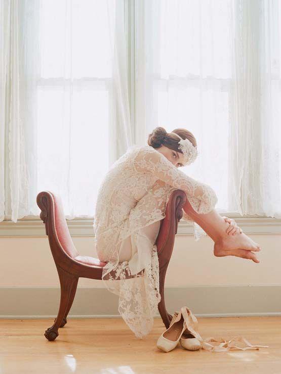 Bridal portrait with ballet shoes and antique chair (Elizabeth Messina)