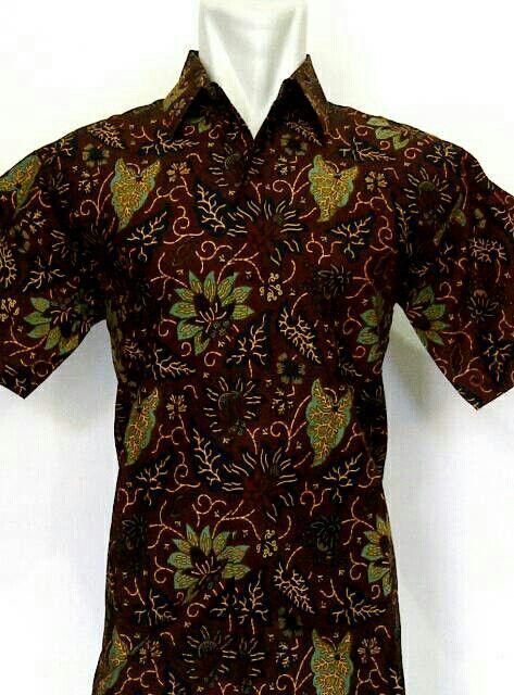 Kemeja batik katun sogan warna motif daun batik solo 75000  da58ad4ead