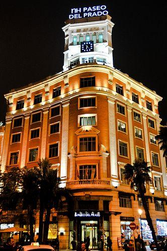 NH Paseo del Prado at Night in Madrid Spain