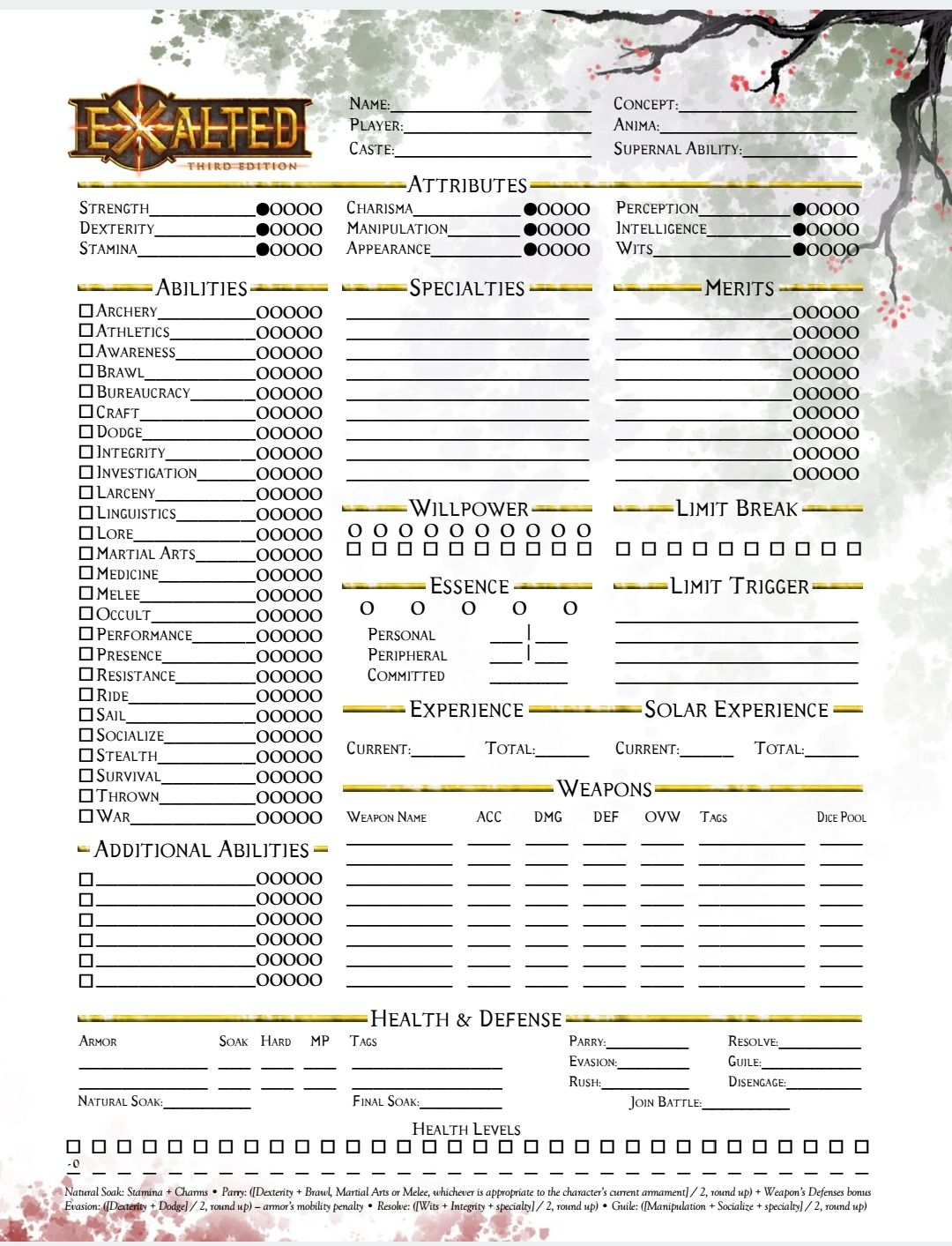 Exalted 1 Character Sheets In 2019 Character Sheet Character Table