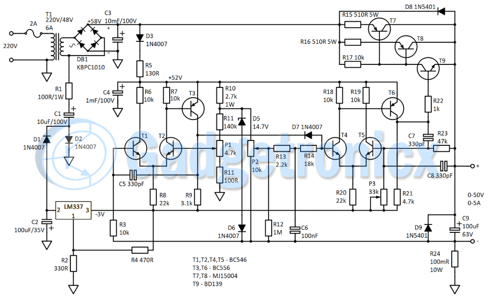 Bench Lab Power Supply 050V 05A Power supply circuit
