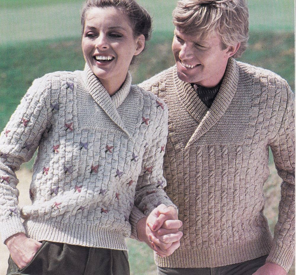 Vintage Knitting Pattern Instructions Ladies Mens Roll Collar Jumper
