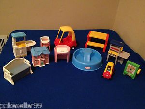 Little Tikes Doll House Furniture LOT Pool, Picnic Table, Kitchen Etc