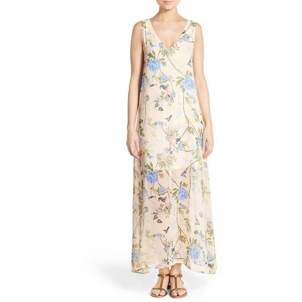 Women's Fraiche By J Tie Neck Print Maxi Dress (£93) ❤ liked on Polyvore featuring dresses, botanic blue, chiffon maxi dress, blue neck tie, white chiffon dress, floral dresses and blue floral dress