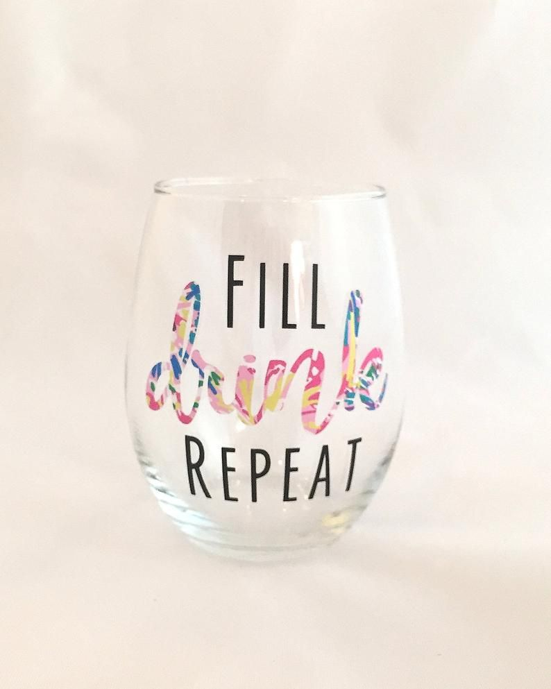 Fill Drink Repeat Stemless Wine Glass Funny Wine Glass Etsy Wine Glass Sayings Cricut Wine Glasses Funny Wine Glass