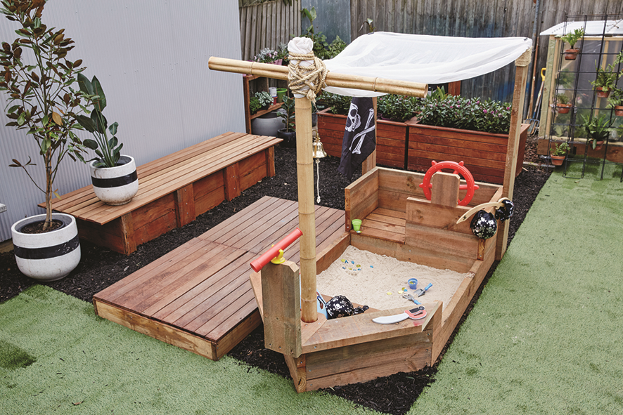 D I Y Pirate Ship Sandpit Gardeningforpreschoolers Backyard Kids Play Area Play Area Backyard Sand Pit