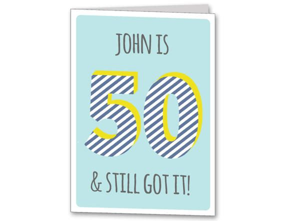 Mens Personalised 50th Birthday Card Age 50 Male Personalized