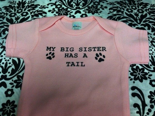 My big sister has a tail cute pet lover dog cat animal custom baby infant bodysuit size and color choice  pet lover gift  long sleeved by KIDSROCKCLOTHING on Etsy https://www.etsy.com/listing/241203990/my-big-sister-has-a-tail-cute-pet-lover