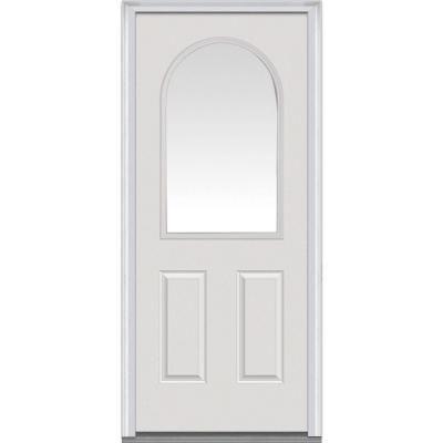 Milliken Millwork 32 In X 80 In Classic Clear Glass 1 2 Arch Lite 2 Panel Primed Fiberglass Smooth Prehung Front Steel Doors Exterior Front Door Clear Glass