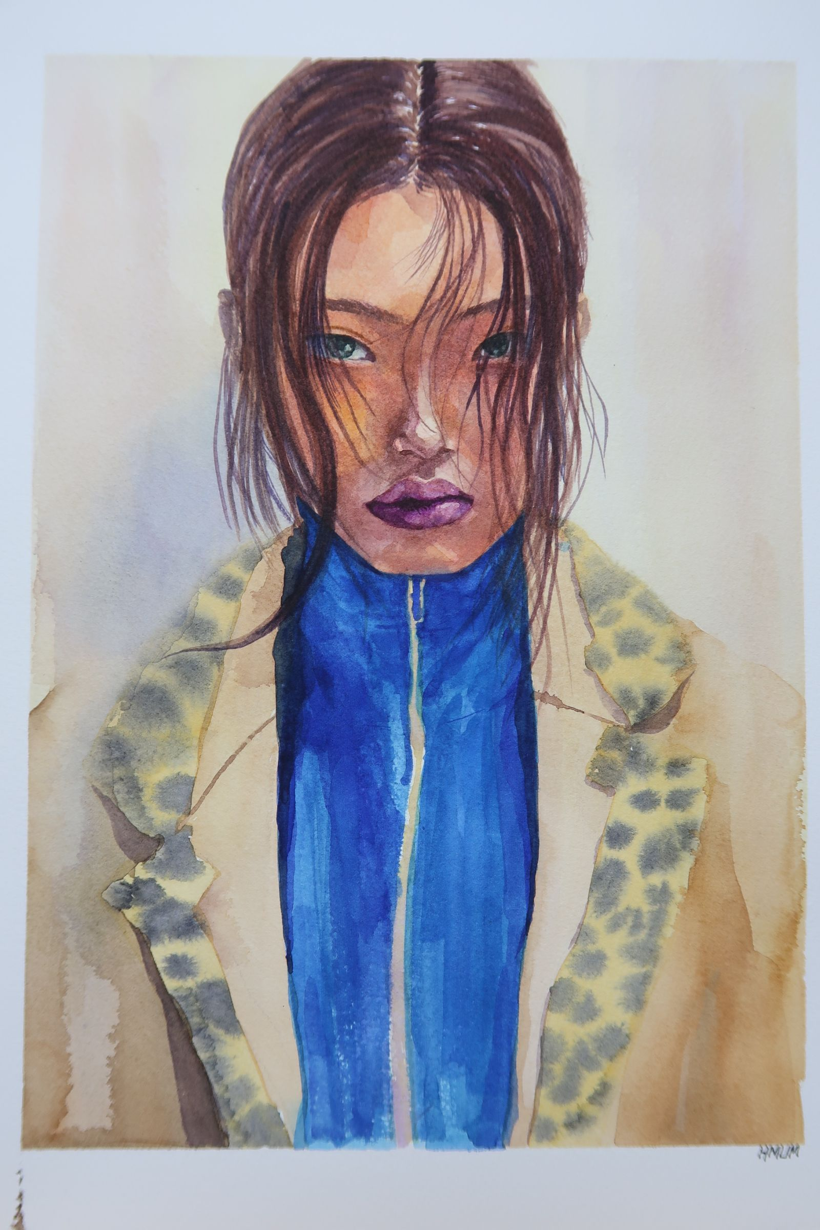 Watercolor. Fabriano Artistico. 300g/. Cold press. Reference Photo by Korean Model Bae Yoon Young's