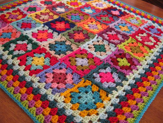 Granny Squares Afghan Blanket Crochet Wonderful Kaleidoscope Colours ...