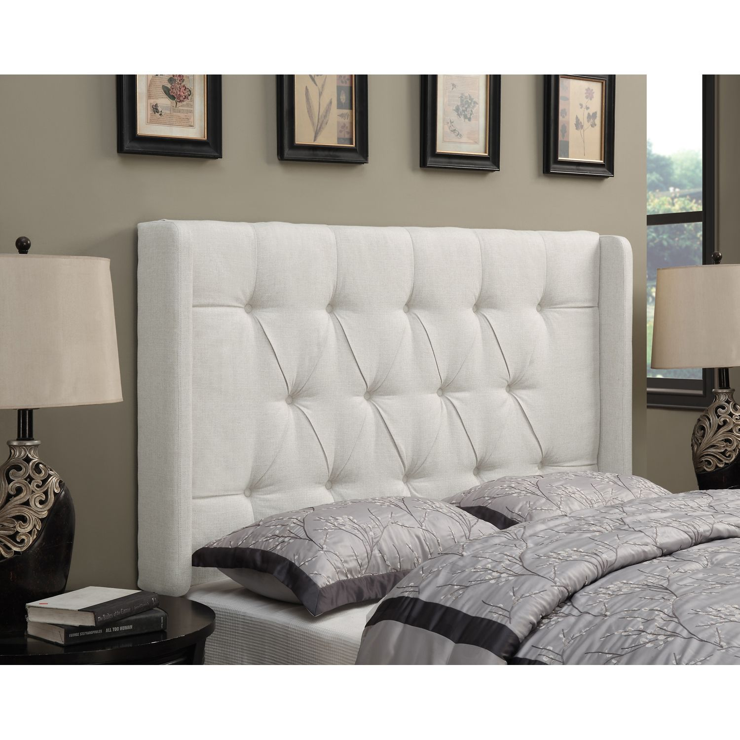 Button Tufted Upholstered Full/queen Headboard Linen