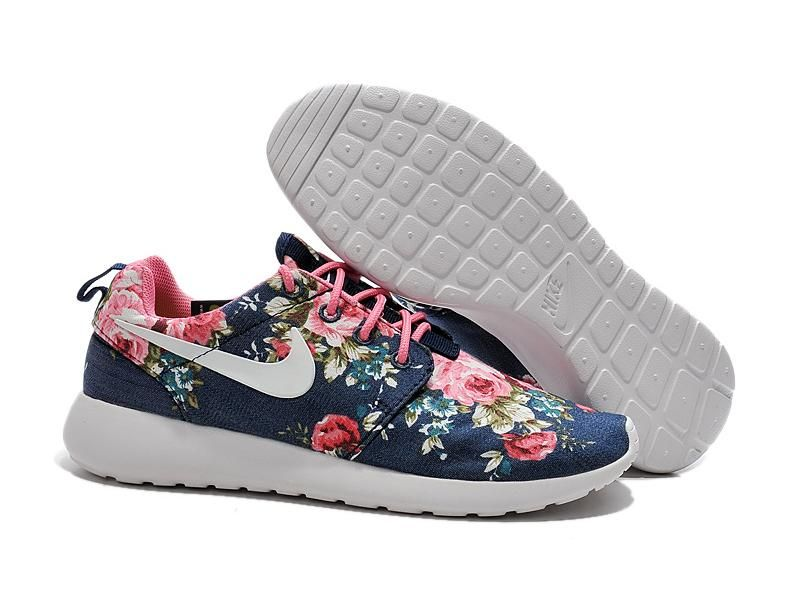 2015 Nike Roshe Run Print Neweat Womens Deep Blue Flower 0