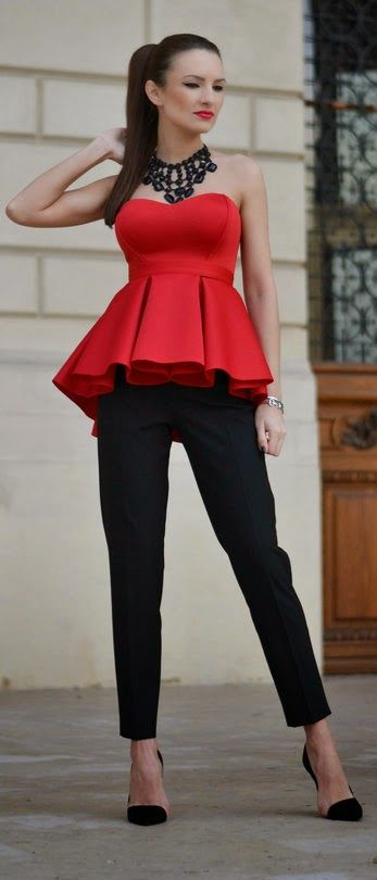 23dc4725fbbed9 Red This Christmas - Red Pleated Peplum Bandeau Top with Black Pants and  Stones Necklace   My Silk Fairytale