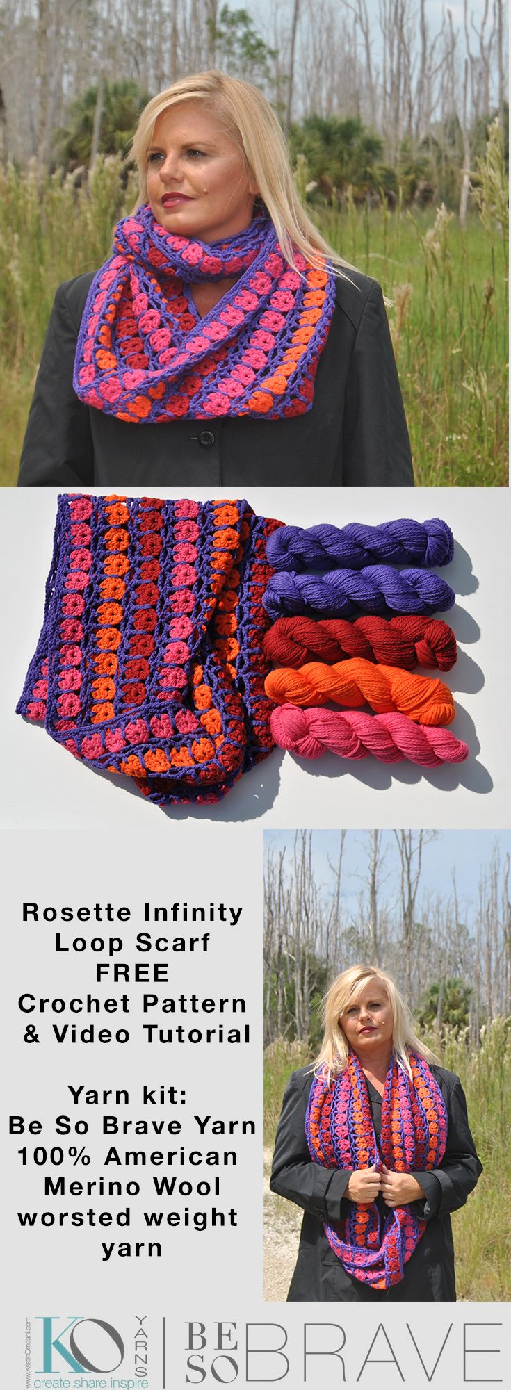 Oct 18 Be So Brave yarn Crochet Rosette Infinity Loop Scarf FREE ...