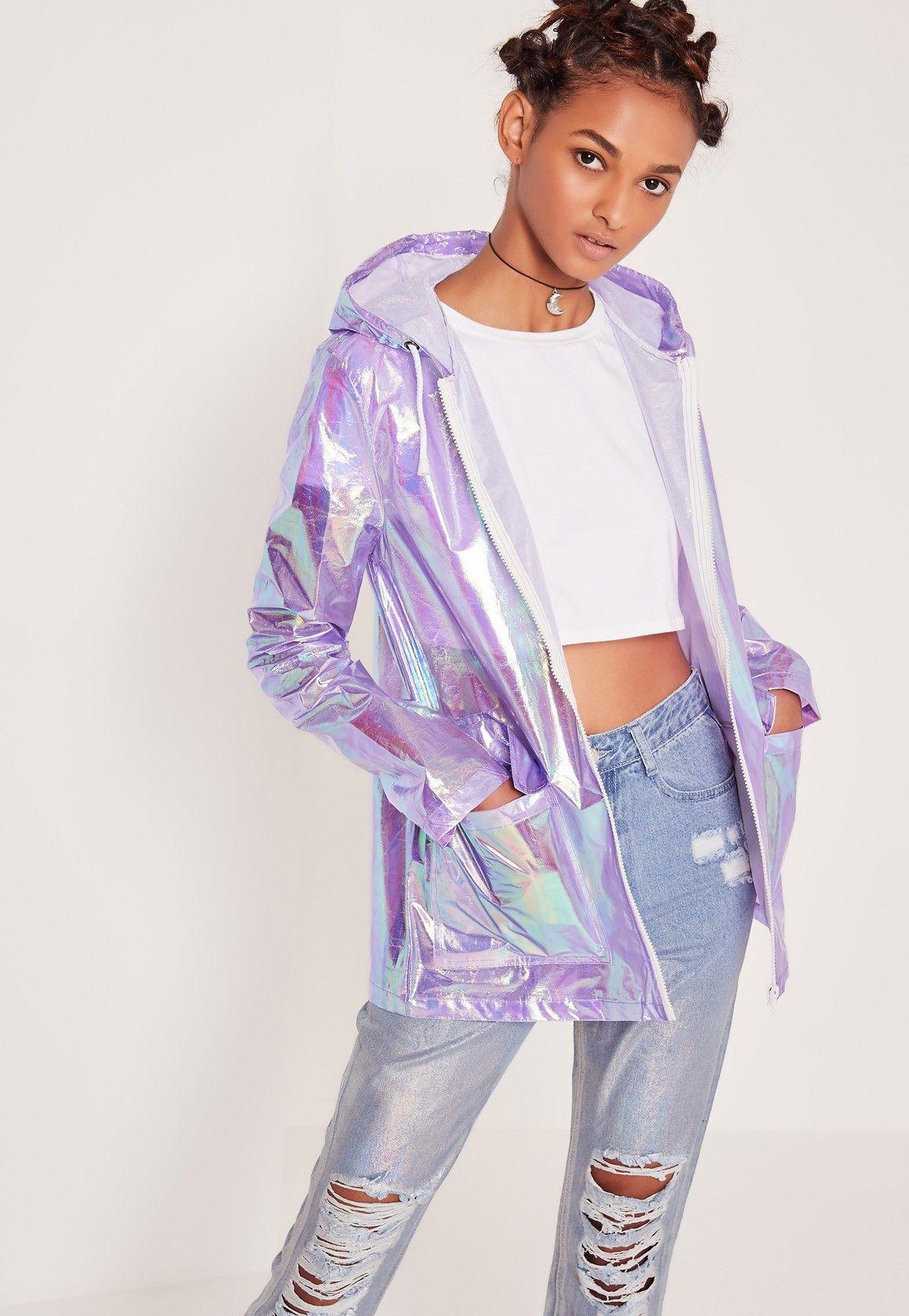 8c00fac5f4c8c Missguided - Holographic Zip Rain Mac Purple