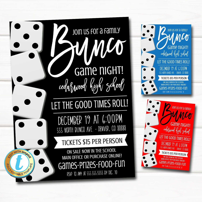 Bunco Night Flyer, Bunco Dice Party Invitation, Family