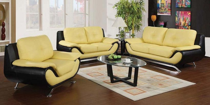 Yellow And Black Leather Sofa Furniture Design Living Room Leather Living Room Furniture Living Room Leather