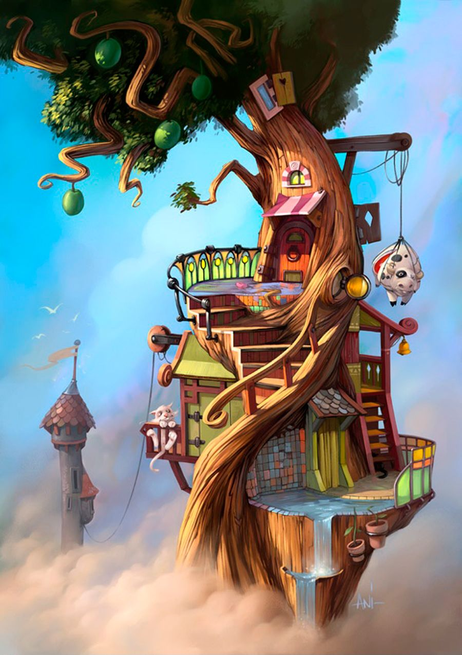 Mathieu leyssenne arbre illustration dessin arbre maison dessin dessin 3d art