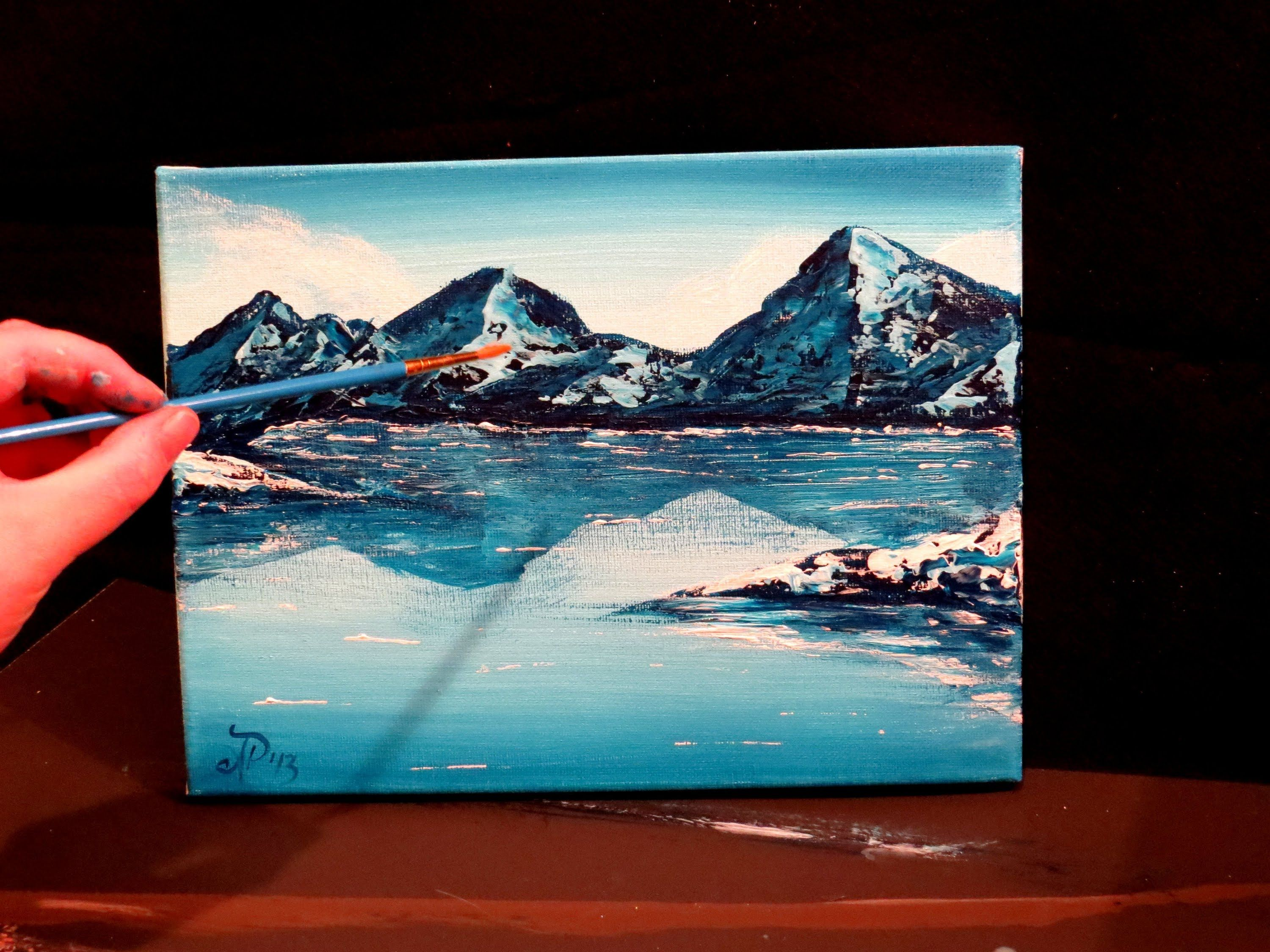 How To Paint A Mountain And Lake Winter Landscape Scene Step By Step Abstract Art Painting Mountain Paintings Painting Tutorial