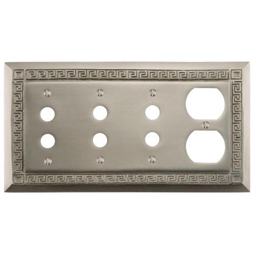 Greek Design Solid Brass Triple Push Button and Outlet Plate - Brushed Nickel