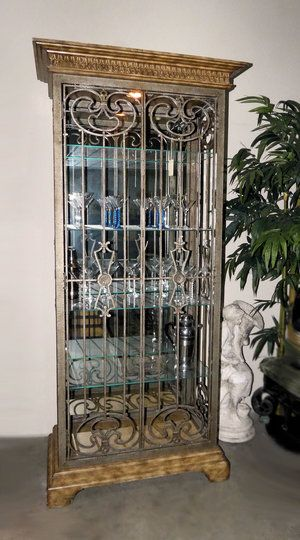 Iron Door Lighted Curio Display Cabinet