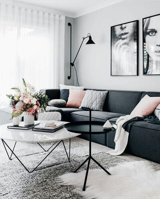 Black And White With Just A Touch Of Pink Feminine And Edgy Scandinavian Design Living Room Living Room Scandinavian Living Decor
