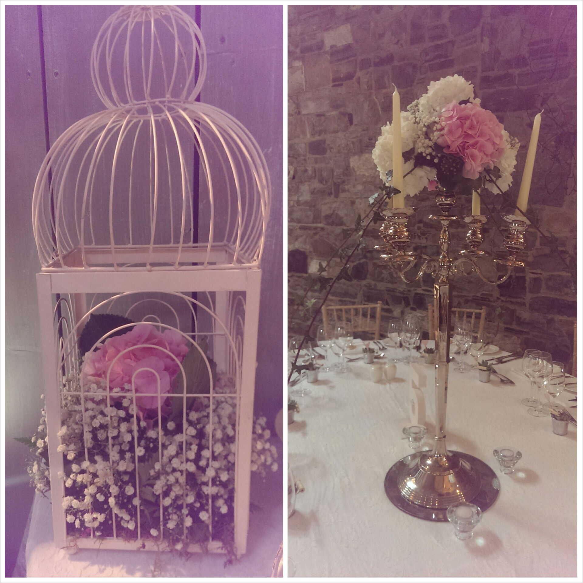 Floral candelabras and birdcage centrepieces