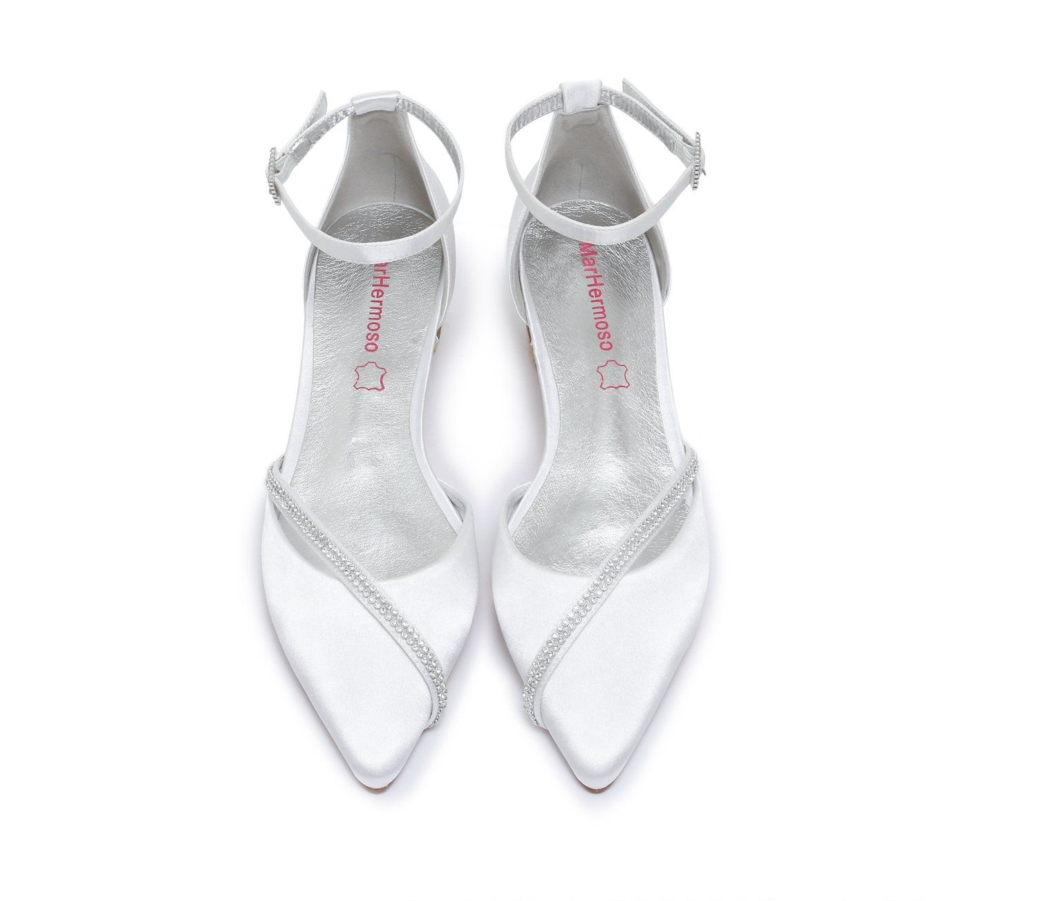 f0650acbfb8a MarHermoso Womens Satin Ankle Strap Pointed Toe Rhinestones Comfort Flats  Wedding Bridal Shoes   See this