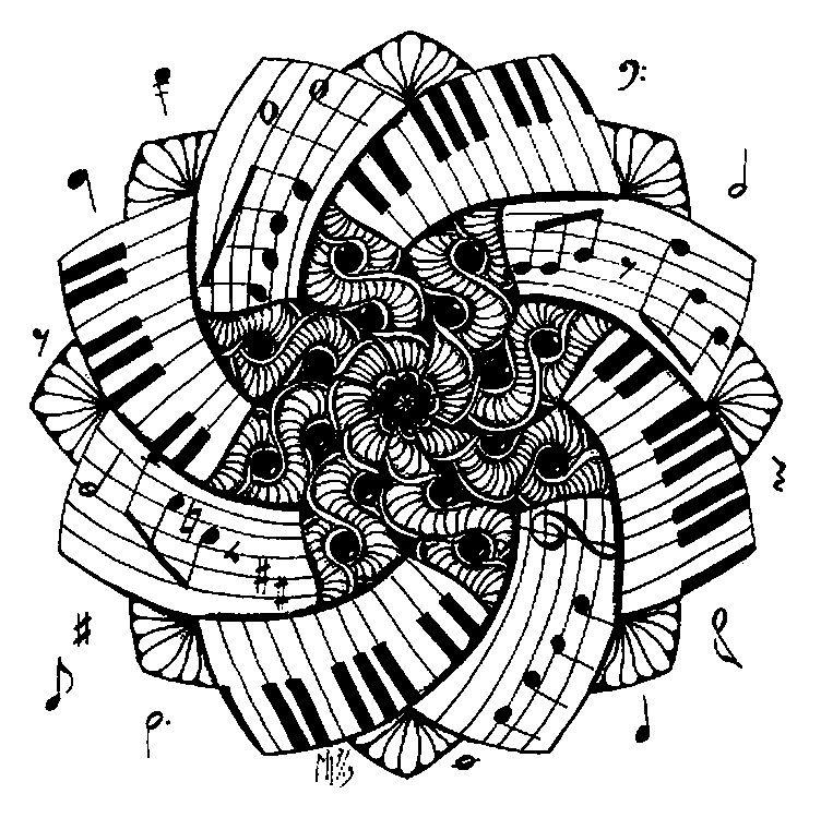 Mandala Piano … (avec images) Coloriage musique, Dessin
