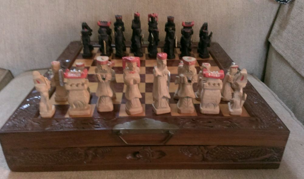 Chinese Chess Set W Hand Carved