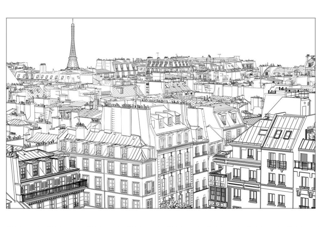 City Coloring Pages Best Coloring Pages For Kids Paris Rooftops City Illustration Paris Wall