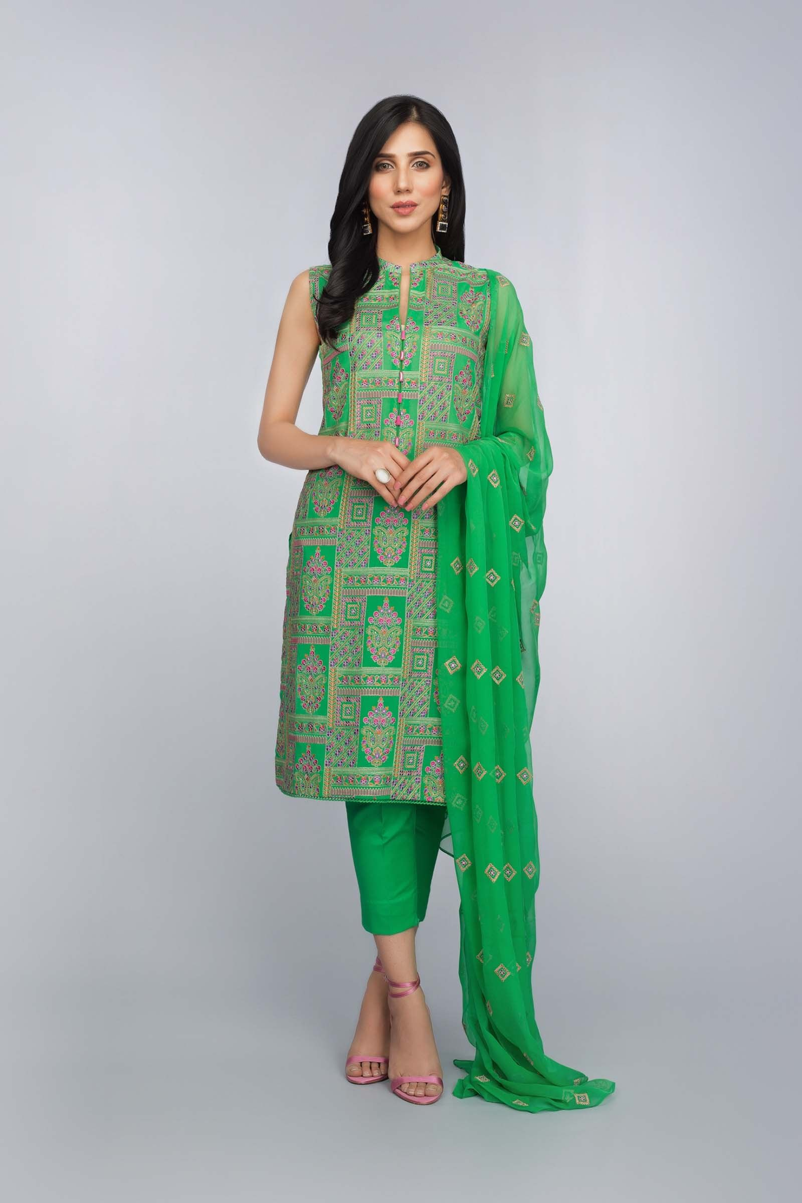 194d943a5d96 Buy Online Refreshing Green Unstitched Pakistani Lawn Suit by ...