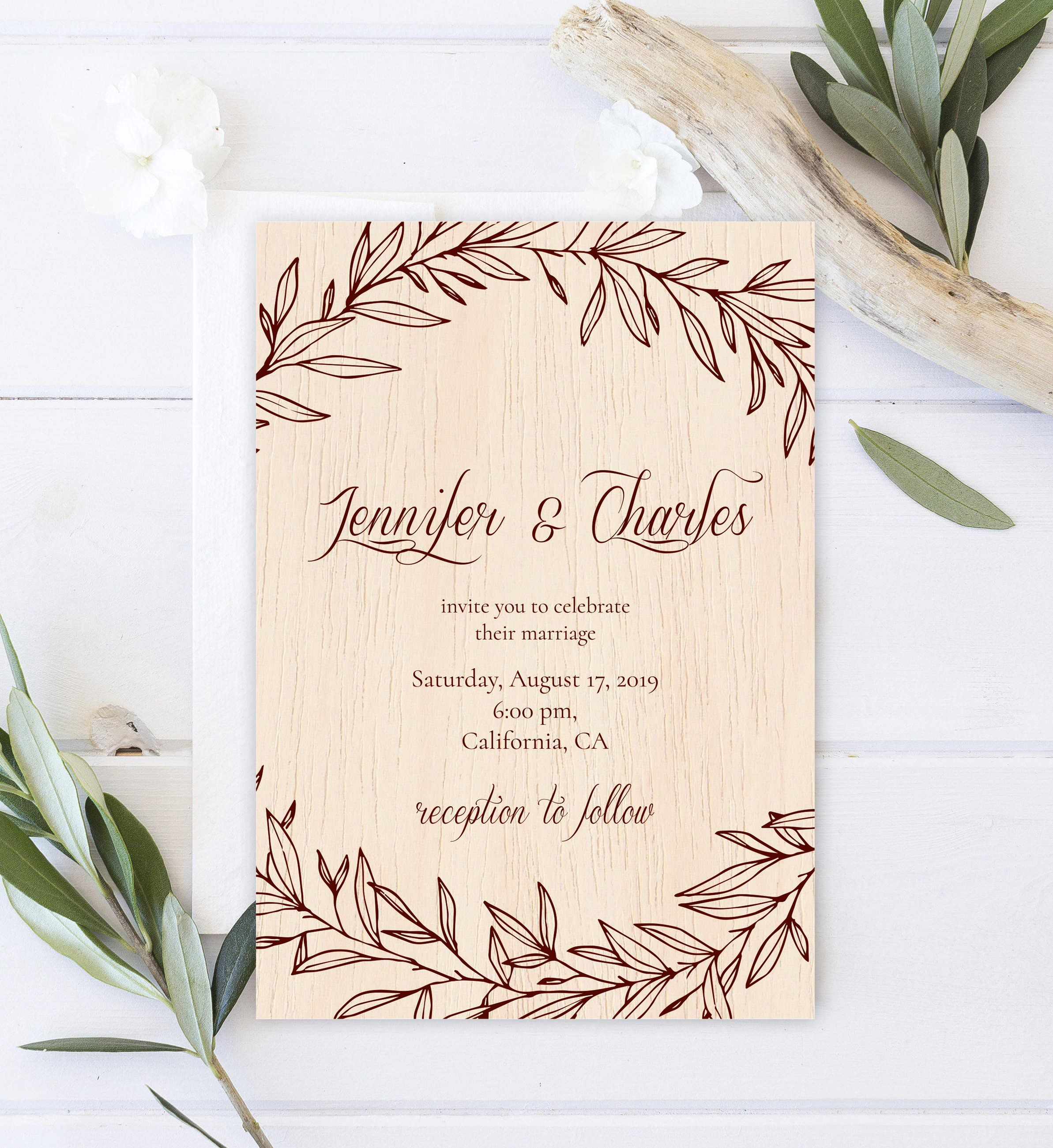 Rustic Wedding Invitation Template Printed On Real Thin Wood