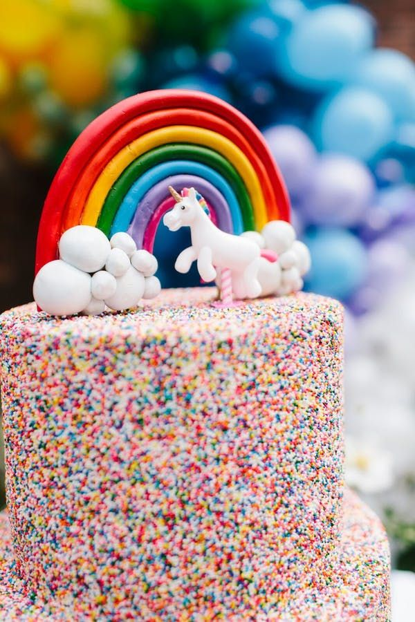 Unicorns and Rainbows are What Party Dreams are Made of - Rainbow birthday party, Rainbow birthday, Rainbow birthday cake, Birthday, Kids birthday party, Birthday parties - Sprinkles, unicorns and rainbows are at the center of this 4th birthday, making it the chicest kid's party we've ever laid eyes on