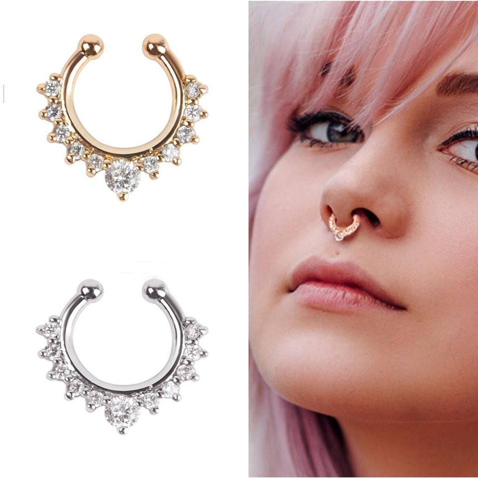 Without piercing nose ring  Crystal Piercing Nose Ring Hoop For Women  womenus accessories